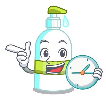 With clock liquid soap in a cartoon basket vector illustration Ilustração