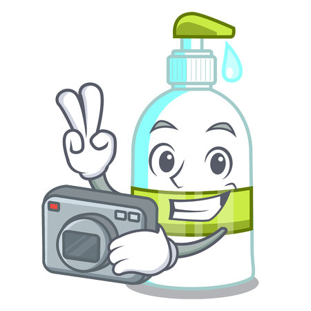 Photographer liquid soap isolated with on mascot vector illustration
