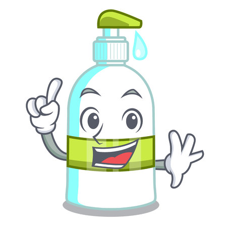 Finger liquid soap in the cartoon shape vector illustartion