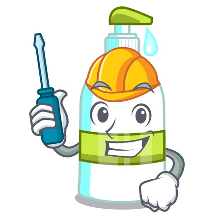 Automotive liquid soap in the cartoon shape vector illustartion