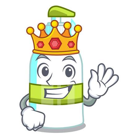 King liquid soap in the cartoon shape vector illustartion