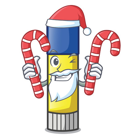 Santa with candy cute cartoon on the glue stick vector illustration