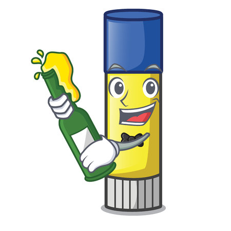 With beer cute cartoon on the glue stick vector illustration Illustration