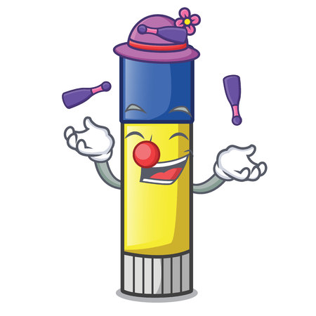 Juggling cute cartoon on the glue stick vector illustration