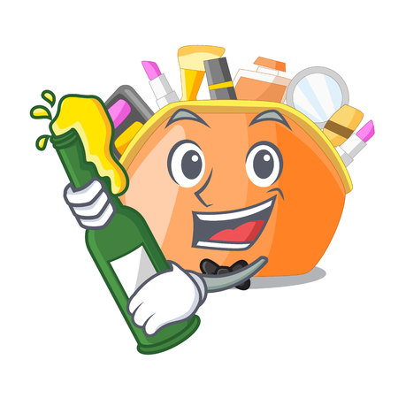 With beer cosmetic bag above the cartoon table vector illustration