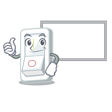 Thumbs up with board light switch in the cartoon shape vector illustration