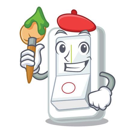 Artist light switch in the cartoon shape vector illustration