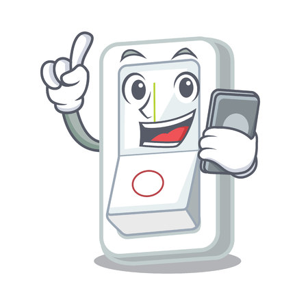 With phone light switch in the cartoon shape vector illustration