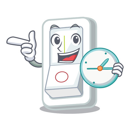 With clock light switch attaches the character wall vector illustration Ilustrace
