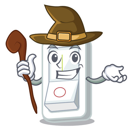 Witch light switch is isolated with mascot vector illustration