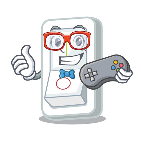 Gamer light switch is isolated with mascot vector illustration