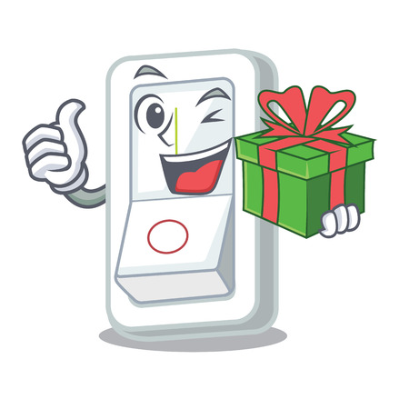 With gift light switch is isolated with mascot vector illustration