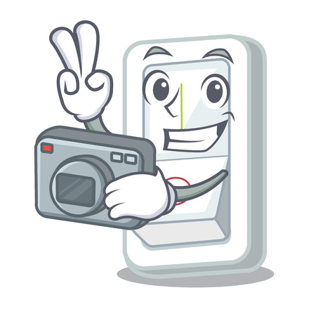Photographer light switch is isolated with mascot vector illustration