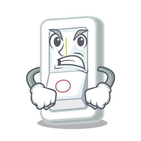 Angry light switch is isolated with mascot vector illustration