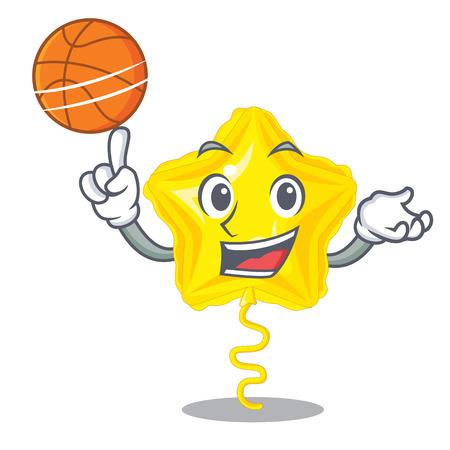 With basketball star balloon was flown mascot sky vector illustration