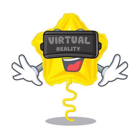 Virtual reality star balloon in the cartoon shape vector illustration