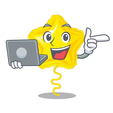 With laptop star balloon was flown mascot sky vector illustration