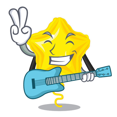 With guitar star balloon in the cartoon shape vector illustration  イラスト・ベクター素材