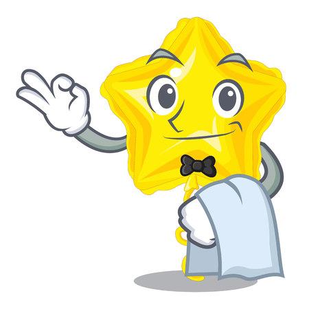 Waiter star balloon in the cartoon shape vector illustration