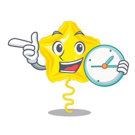 With clock stars ballon isolated in the character vector illustration