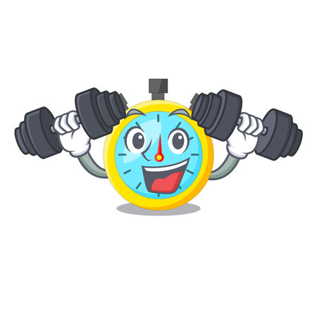 Fitness stopwatch in the cartoon shape funny vector illustration