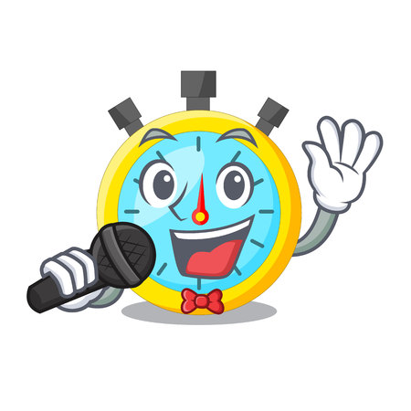 Singing stowatch on a mascot wood table vector illustration