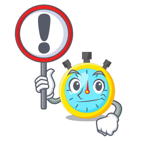 With sign stopwatch in the cartoon shape funny vector illustration Illustration