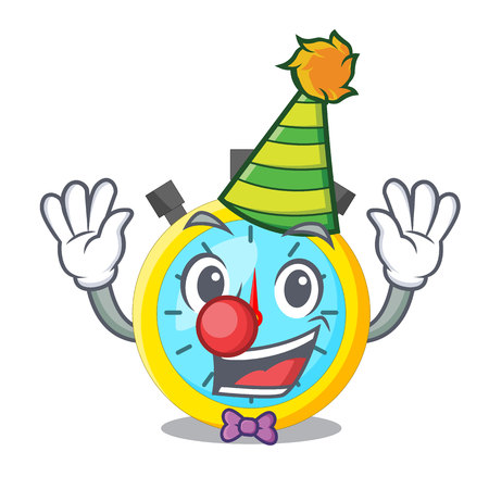 Clown cartoon stopwatch on for the race vector illustration
