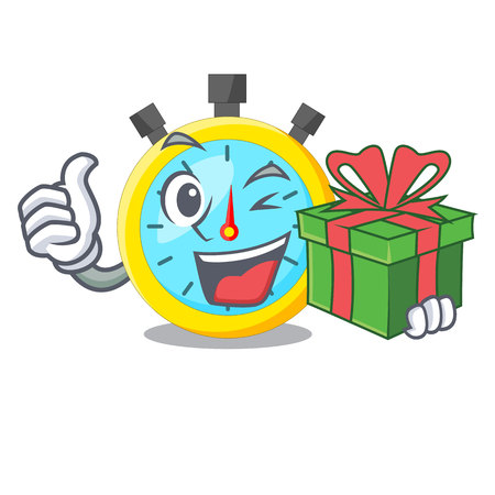 With gift stowatch on a mascot wood table vector illustration