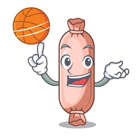 With basketball bolster on the funny cartoon shape vector illustration