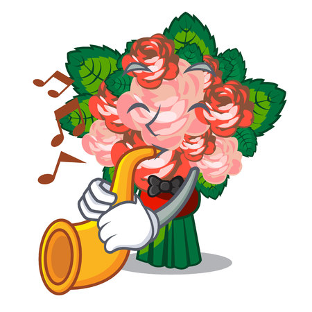 With trumpet flower bouquet on isolated with mascot vector illustration Illustration