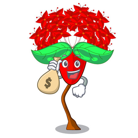 With money bag Ixora flowers grow in the character vector illustration