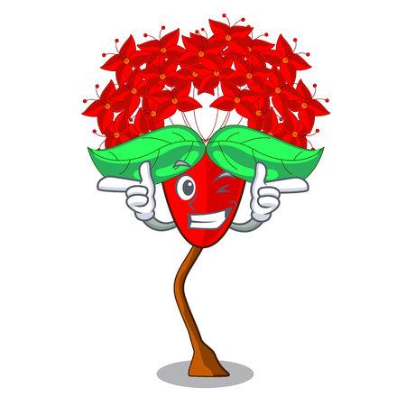 Wink ixora flowers in shape of mascot vector illustration