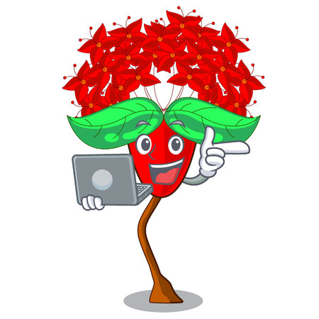 With laptop Ixora flowers grow in the character vector illustration Illustration