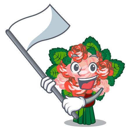 With flag flower bouquet placed on glass cartoon vector illustration Illusztráció