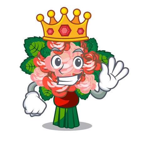 King flower bouquet placed on glass cartoon vector illustration