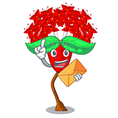 With envelope ixora flowers in shape of mascot vector illustration