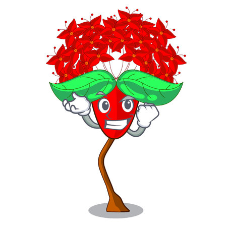 Successful ixora flowers in shape of mascot vector illustration