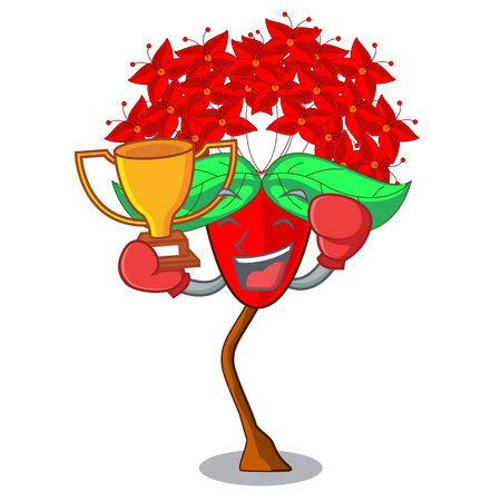 Boxing winner flower ixora isolated with the mascot vector illustration