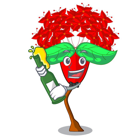 With beer flower ixora isolated with the mascot vector illustration