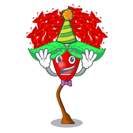 Clown flower ixora isolated with the mascot vector illustration