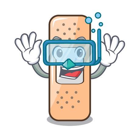 Diving sticking plaster in medicinal basket character vector illustration Vektorové ilustrace