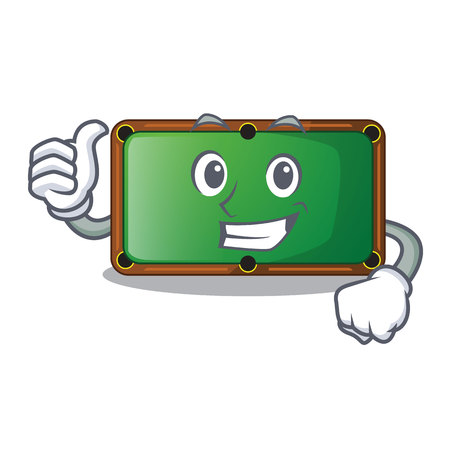 Thumbs up billiard table is insulated with characters vector illustration Illustration
