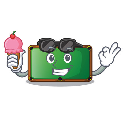 With ice cream billiard table is insulated with characters vector illustration