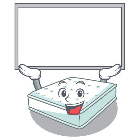 Up board mattress isolated on the with mascot vector illustration Vettoriali