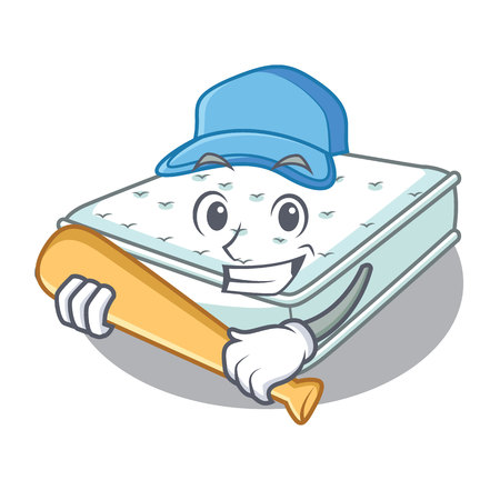 Playing baseball mattress isolated on the with mascot vector illustration