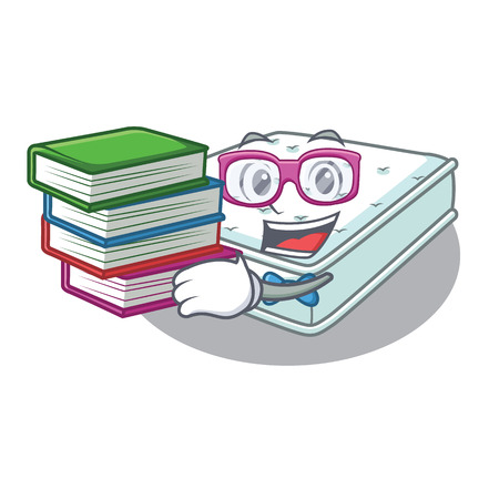 Student with book mattress in cartoon on the shape vector illustration Illustration