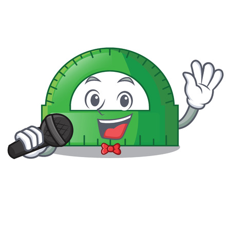 Singing protractor on a the mascot table vector illustartion