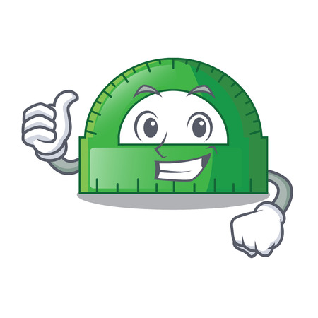 Thumbs up protractor in a the cartoon bag vector illustartion