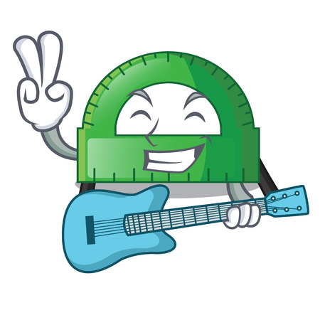 With guitar protractor on a the mascot table vector illustartion Illustration